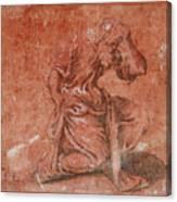A Bearded Saint Kneeling Canvas Print