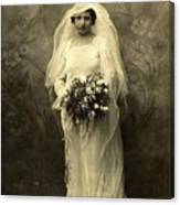 A Beautiful Vintage Photo Of Coloured Colored Lady In Her Wedding Dress Canvas Print