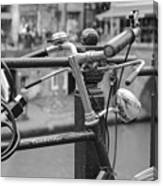 A Bicycle Parked At Fence, Netherlands Canvas Print