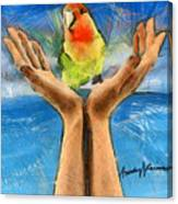 A Bird In Two Hands Canvas Print