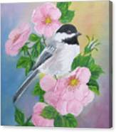 A Blackcapped Chickadee And Roses Canvas Print
