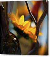 A Bottle And Sunflowers Canvas Print