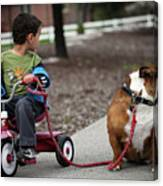 A Boy And His Bulldog Canvas Print