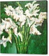 A Bunch Of White Gladioli Canvas Print