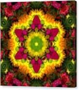 A Burst Of Flowers Kaleidoscope Canvas Print