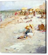 A Busy Beach In Summer Canvas Print