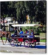A Carriage Ride Through The Streets Of Katakolon Greece Canvas Print