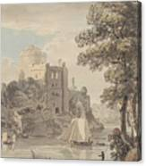 A Castle On A River Canvas Print