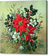 A Christmas Arrangement With Holly Mistletoe And Other Winter Flowers Canvas Print