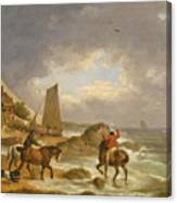 A Coastal Landscape Of The Isle Of Wight With Figures On Horse Back Near A Cottage Canvas Print
