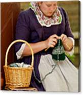 A Colonial Lady Knits Canvas Print