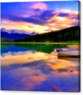 A  Colourful Evening At Lake Patricia Canvas Print