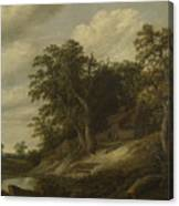 A Cottage Among Trees On The Bank Of A Stream Canvas Print