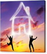 A Couple Jump And Make A House Symbol Of Light Canvas Print