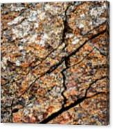 A Crack On A Brown Stone Block Canvas Print
