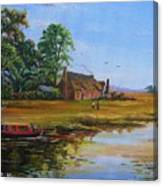 A Day On The Canal Canvas Print