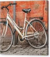 A Dejected Bicycle Waits Patiently On A Cobbled Street In Rome. Canvas Print