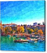 A Digitally Constructed Painting Of Kaleici Harbour In Antalya Turkey Canvas Print
