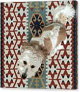 A Dog In On A Rug Canvas Print