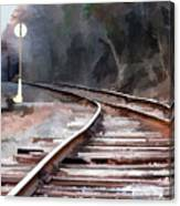 A Dreary Day On The Rail Line Canvas Print