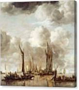 A Dutch Yacht Firing A Salute As A Barge Pulls Away Canvas Print