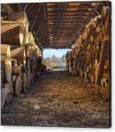 Woodpile At Lusscroft Farm In Color Canvas Print