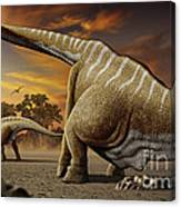 A Female Apatosaurus Laying Her Eggs Canvas Print