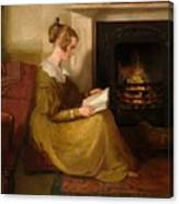 A Fireside Read Canvas Print
