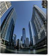 A Fisheye View Of The Chicago Skyline As You Appraoch Wolf Point Canvas Print