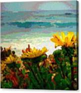 A Flowery View Of The Surf Watercolor Canvas Print
