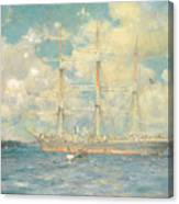 A French Barque In Falmouth Bay Canvas Print