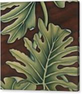 A Frog On A Philodendron Canvas Print