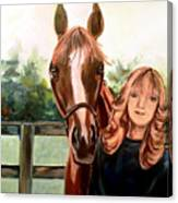 Wide Eyed Girl And Her Horse Canvas Print