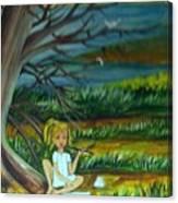 A Girl Near The Pond Canvas Print