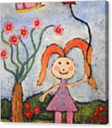 A Girl With A Balloon Canvas Print