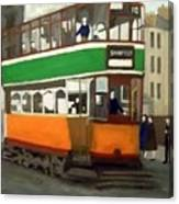 A Glasgow Tram With Figures And Tenement Canvas Print