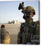A Green Beret Waits To Have His Gear Canvas Print