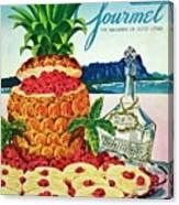 A Hawaiian Scene With Pineapple Slices Canvas Print