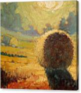 A Hay Bale In The French Countryside Canvas Print
