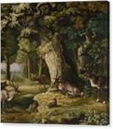 A Herd Of Stag And A Fawn In A Woodland Landscape Canvas Print