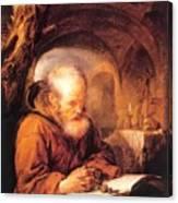A Hermit Praying 1670 Canvas Print