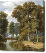 A Hunter And An Angler In A Wooded Landscape Canvas Print