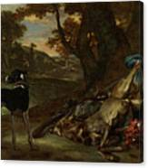 A Huntsman Cutting Up A Dead Deer, With Two Deerhounds Canvas Print