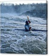 A Kayaker Takes On White Water Rapids Canvas Print
