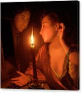 A Lady Admiring An Earring By Candlelight Canvas Print