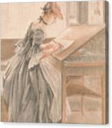 A Lady Copying At A Drawing Table Canvas Print
