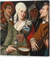 A Lady Holding A Swaddled Cat A Man With A Pan Of Porridge Another Playing With Fire Irons And Two O Canvas Print