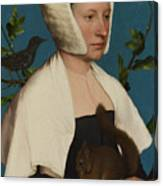 A Lady With A Squirrel And A Starling Anne Lovell Canvas Print