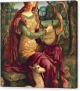 A Lady With A Unicorn Canvas Print