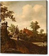 A Landscape With A Figure On A Path And A Bleaching Canvas Print